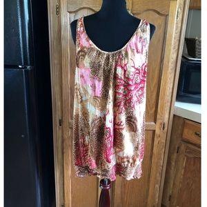 Lane Bryant Silk Blend Mixed Pattern Top Size 24